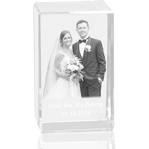 HBL Personalised Custom 3D Laser Engraving Photo Crystal Cube Etched Glass Picture Block Paperweight For Wedding Gift