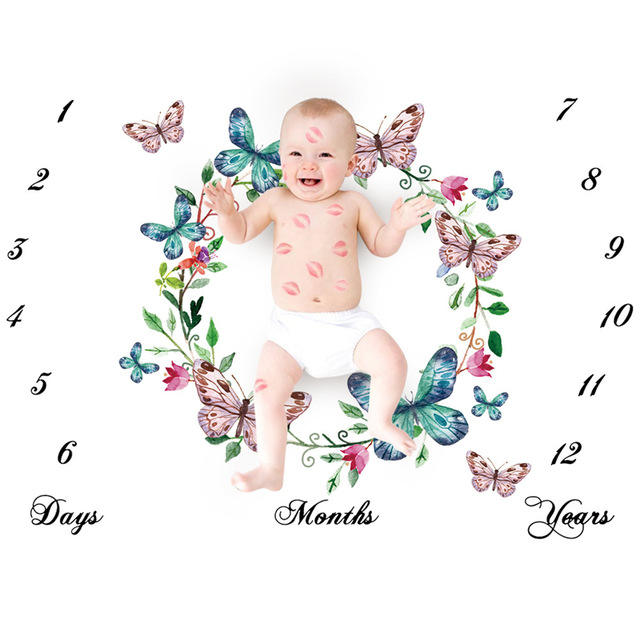 Cute Cartoon Pattern Infant Milestone Photo Props Backdrop Cloth Calendar Photo background