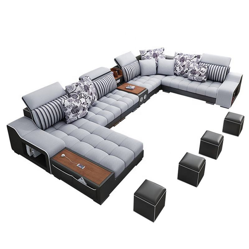 Hot sale storage functional soft bluetooth music U shaped sectional 7 seat latex grey living room lounges and sofas furniture