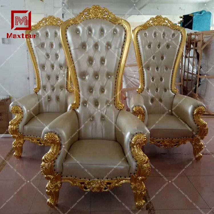 Cheap wedding gold crown throne chairs for sale