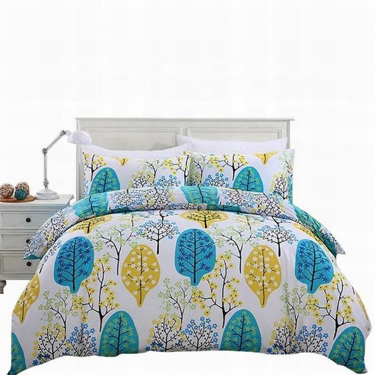 Hot selling cotton made home goods covers print bed linen sheet room set
