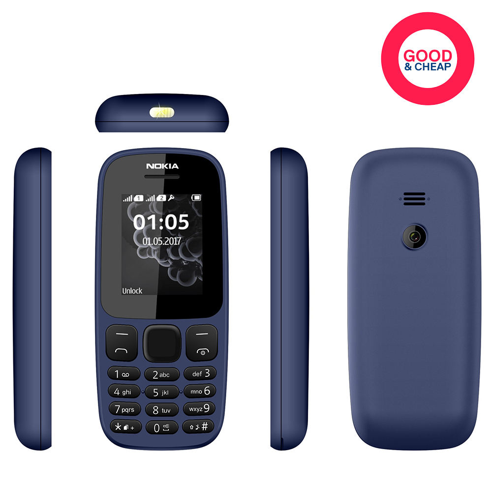 Cheap China Mobile Phone Nokia 105 Unlocked 2G GSM Mobile Phone