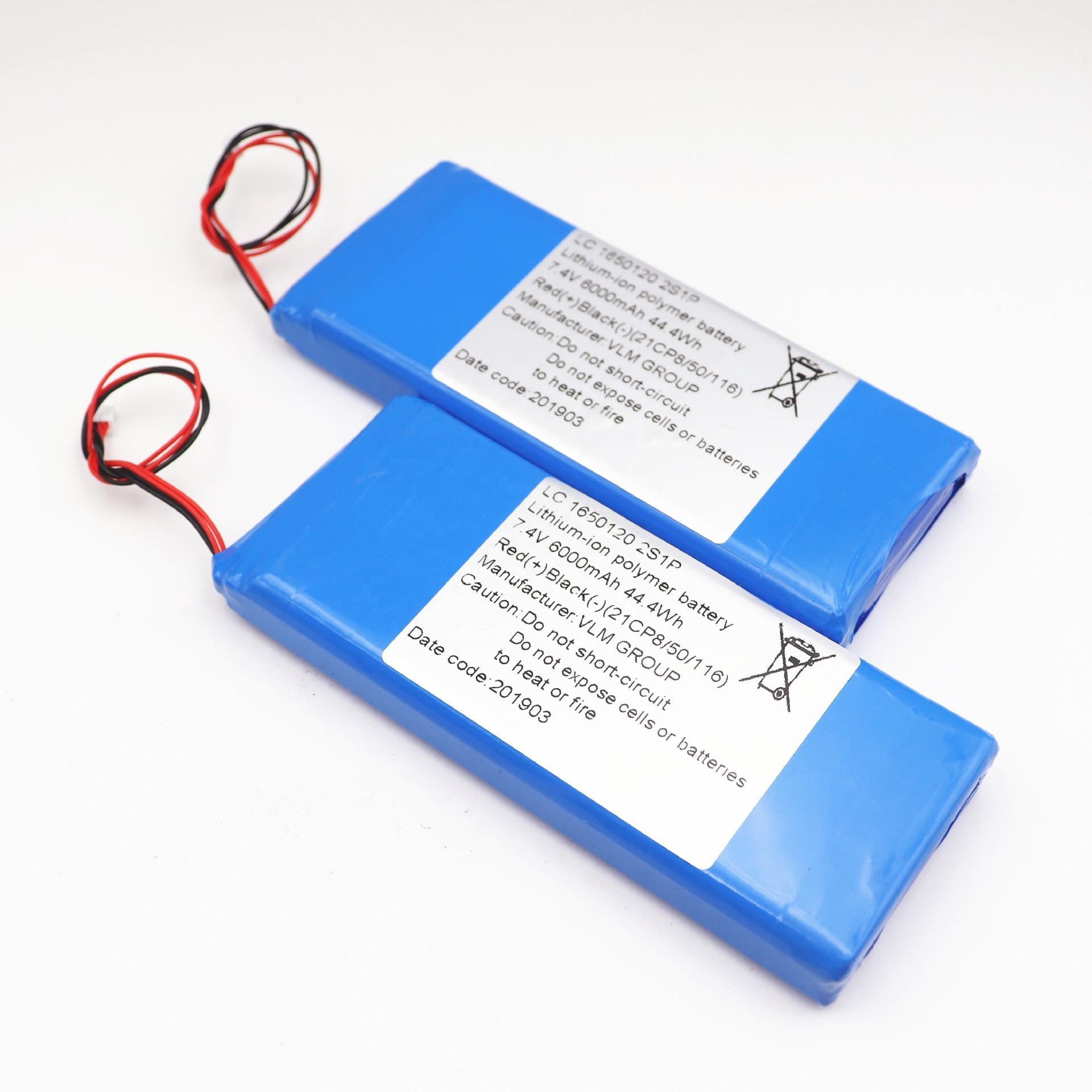 High quality lc 1650120 2s1p li ion polymer battery pack 7.4v 6000mah 44.4Wh for Bluetooth speaker