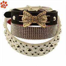 2020 Amazon Hot Sale Adjustable Bowtie Pet Dog Collar with Rose Gold Metal Buckle