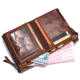 Wallet Vintage Genuine Thin Luxury Wallet Men Double Zipper Coin Purse Rfid Blocking Real Leather Slim Wallet