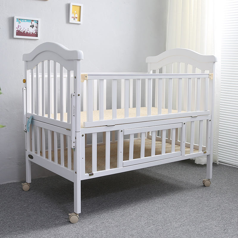 No.1202 Full Size Baby Massief Hout Grenen Twin Cot Bed, Multifunctionele Tweeling Baby Bed Wieg