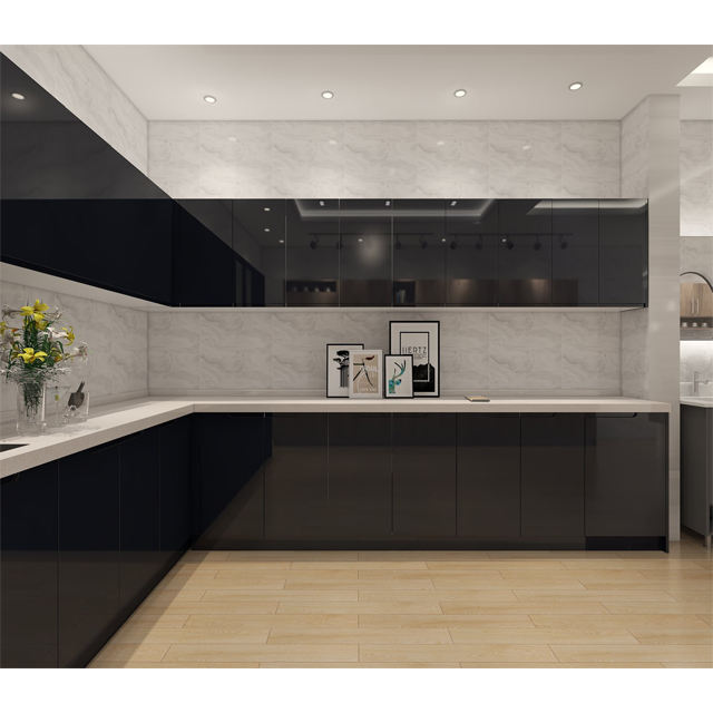 high gloss doors modular kitchen cabinets design