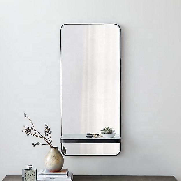 Simple forma redonda de hierro negro Marco de espejo de maquillaje para <span class=keywords><strong>casa</strong></span> habitación
