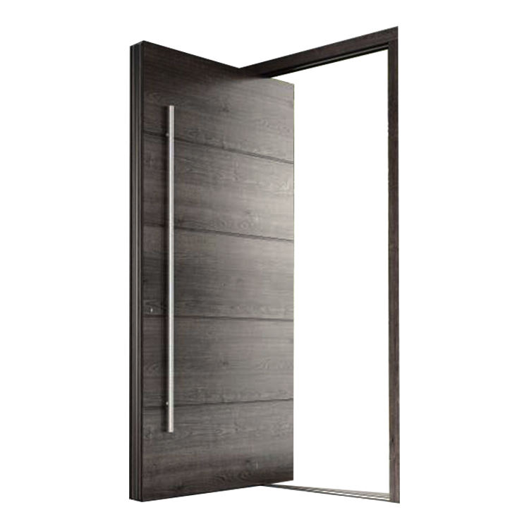 Prettywood Modern Style Grey Exterior Villa Front Entrance Wooden Entry Pivot Doors