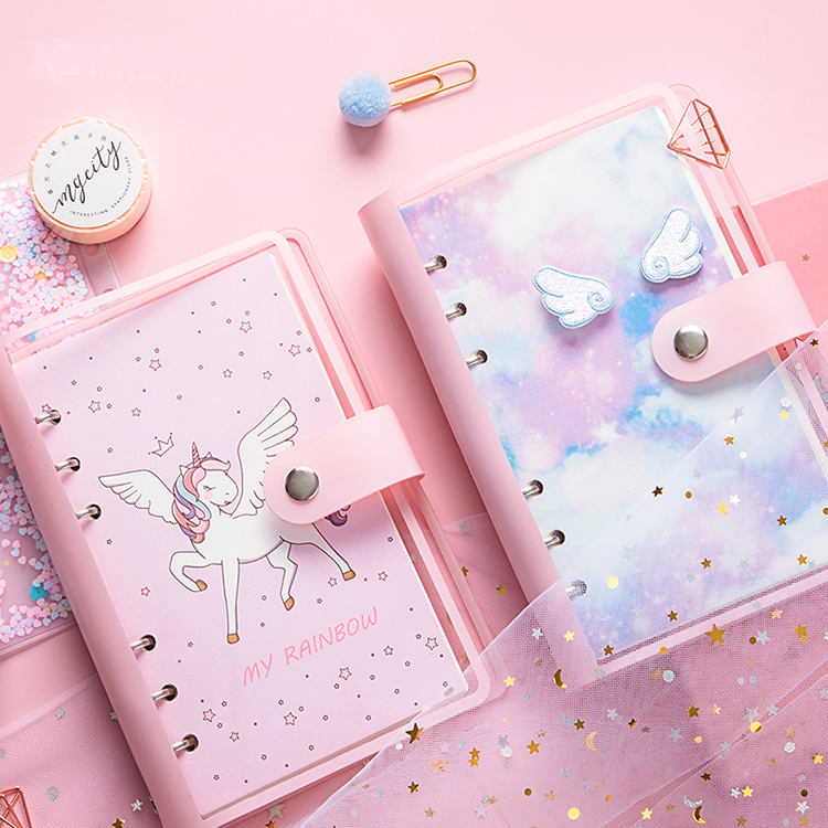 2020 new design A6 cute unicorn soft PVC cover loose leaf journal notebook gift set