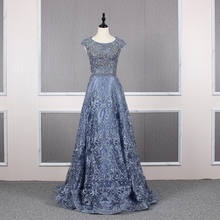 Blue Color Beaded Crystal Lace A Line Evening Dresses 2019 Real Photo Custom Made Designer Evening Party Gowns