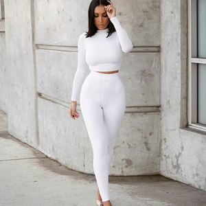KBL062449 High Elastic Workout Suit Gym Two Piece Set Women Clothing Long Sleeves Tracksuits Women Yoga Sports Set