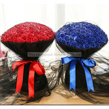 LYSH002 New arrival valentine's day gift artificial silk soap flower bouquet wholesale