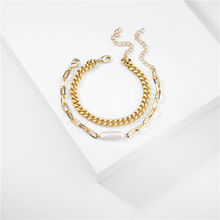 Gold Color 2 Pieces/set Stacked Natural Freshwater Random Shape Baroque Pearl Metal Chain Link Bracelet for Women