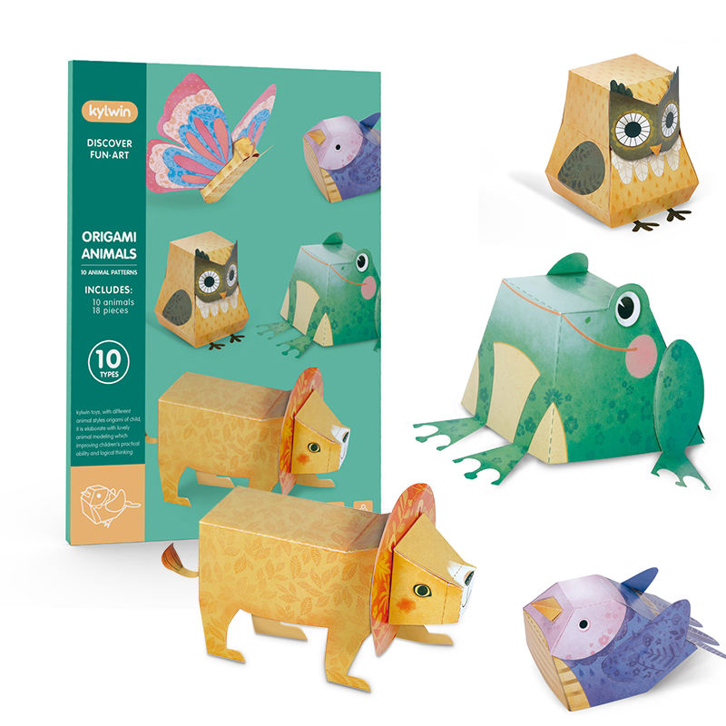 custom 3d card origami children Educational non-toxic manual origami paper folding game Cute Animal 3D Paper craft Model kit