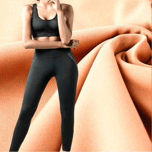 Spandex do poliéster 4 way stretch wicking leggings reciclar tecido esporte