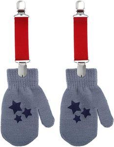 6 Pairs Winter Mitten Glove Clips Stainless Steel Gloves Clips Elastic Mitten Straps Glove Fasteners Black, Red, Rosy