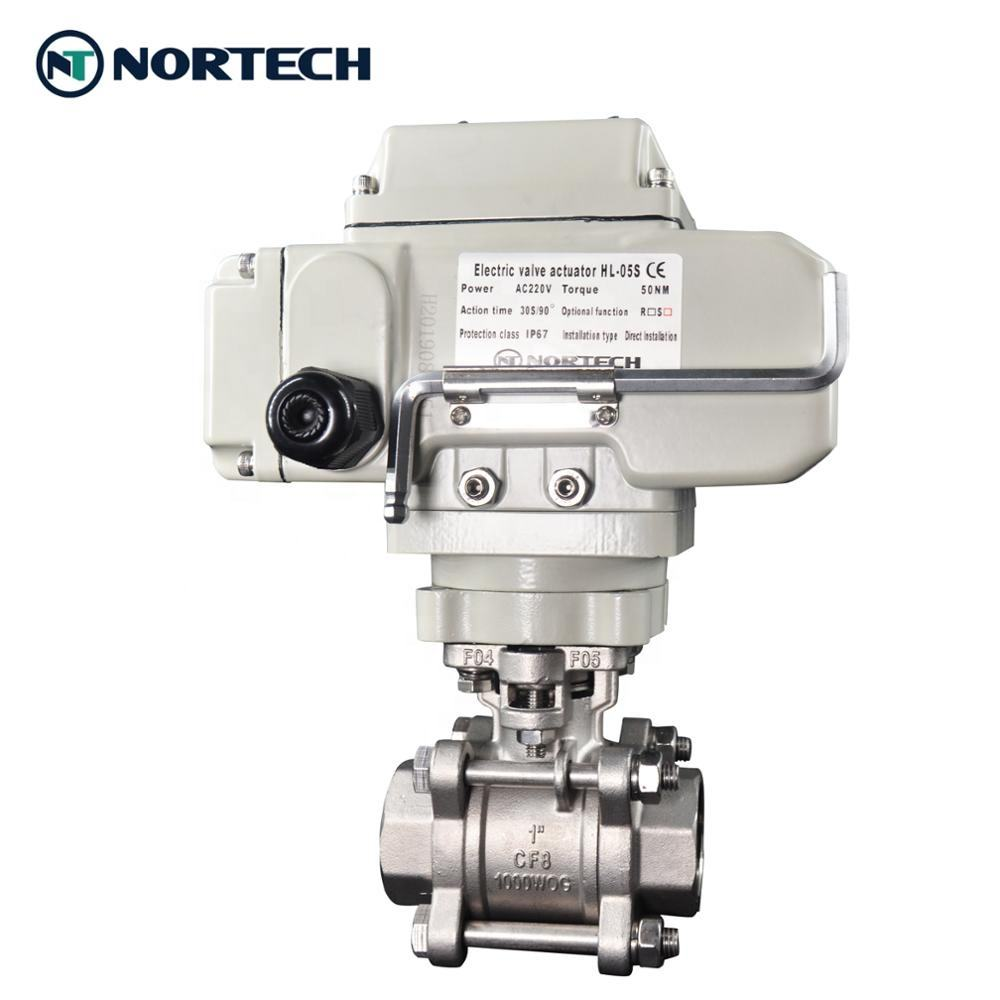 new model 3 piece ball valve stainless steel motorized electric actuator NPT BSPT