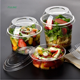Round disposable composable cold food vegetable fruit salad yogurt cake clear pet plastic dessert cups with lid