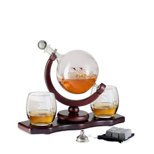 Amazon hot sale glass globe decanter bar sets glass whiskey decanter and glass set