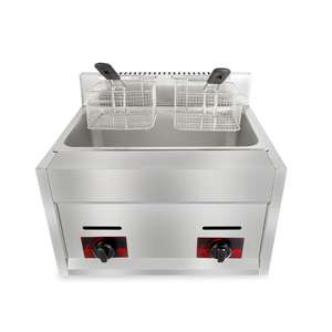 6L 6L Commercial Stainless Steel Counter Top LPG Gas Deep Fryer with 2 Basket Fried chicken Machine