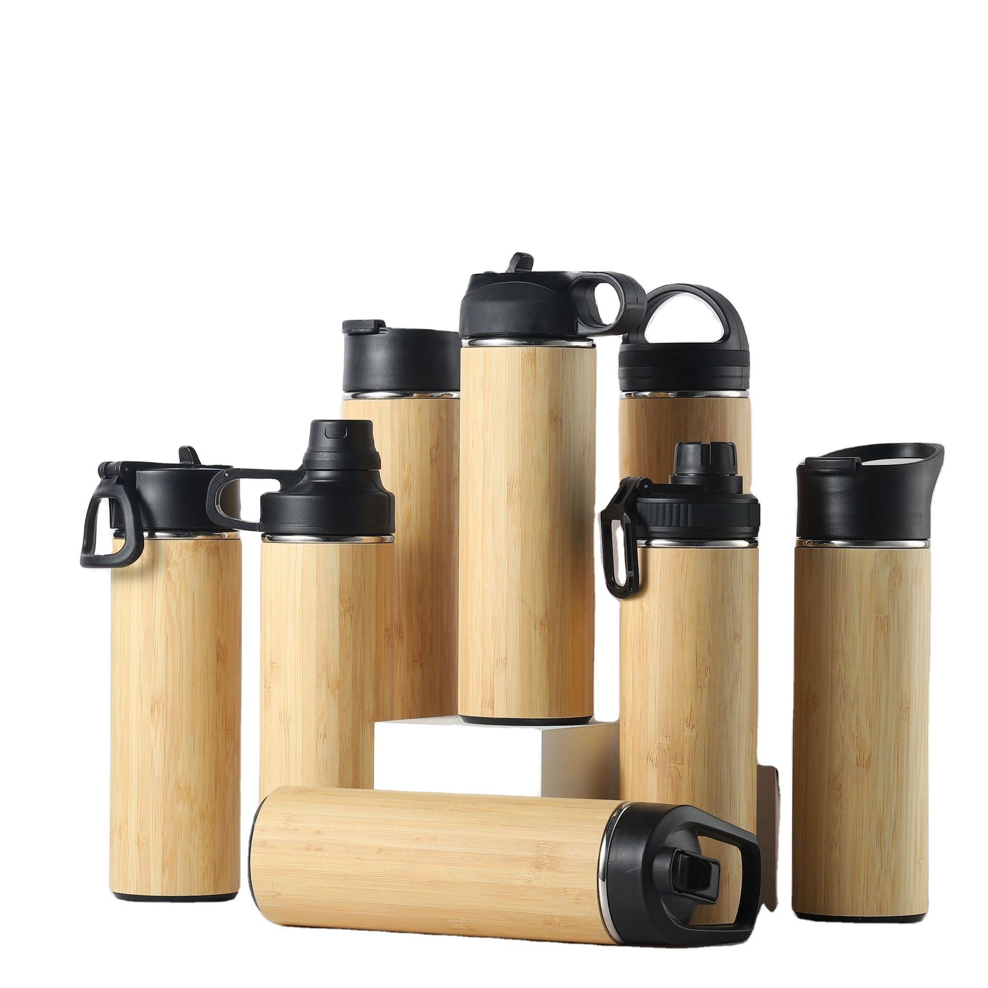 8 Types Lids Mixed Double Wall Bamboo Thermos