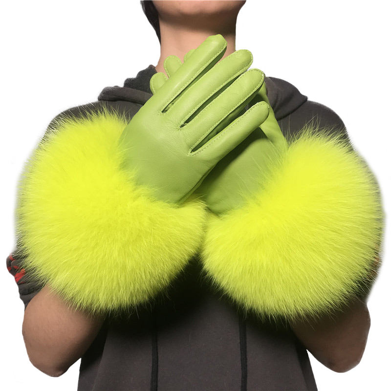 Warm Real Leather Gloves With Big Genuine Fox Fur Beautiful Gloves