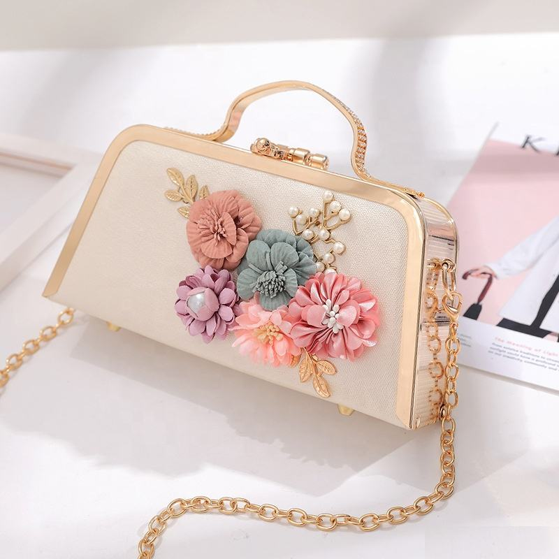 wholesale brand dinner Crossbody bags clutch purse with chain flower handmade flowers evening clutch bag women