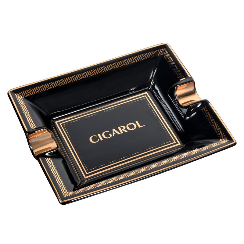 Portable black glazed rectangular gold leaf cigar ashtray with 2 grooves and golden stripes