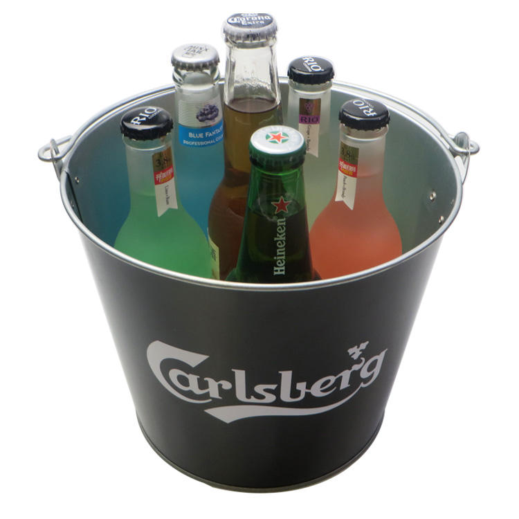 Promotional tin galvanized iron metal stainless steel beer ice bucket with logo embossed raised