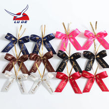 Lude wholesale ready made custom printed small ribbon bows with twist tie