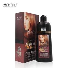 500ml hot Thailand Mokeru Argan oil hair dye anti grey hair color shampoo 100% cover gray hair permanent brown color shampoo