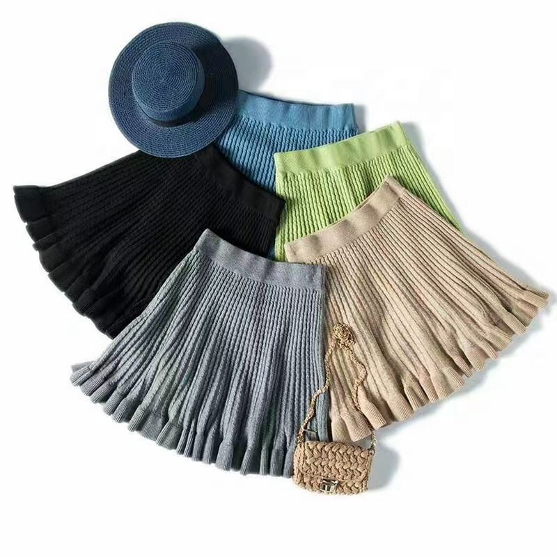 2020 hot sale wholesale ruffled fishtail knit skirt