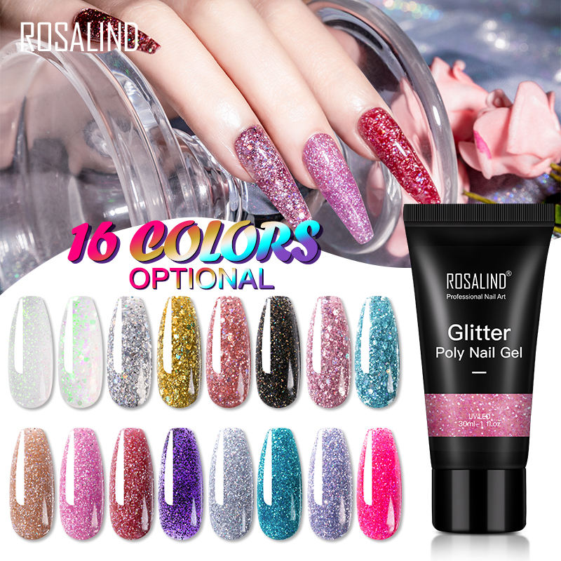 Rosalind nail supplies 30ml quick extension gel oem private label soak off glitter color poly nail gel polish for nail art