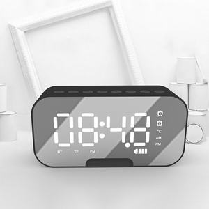 Gvoice Alarm Clock Digital Display Mirror Mobile Phone Stand Portable Mini Waterproof Bluetooths Speaker