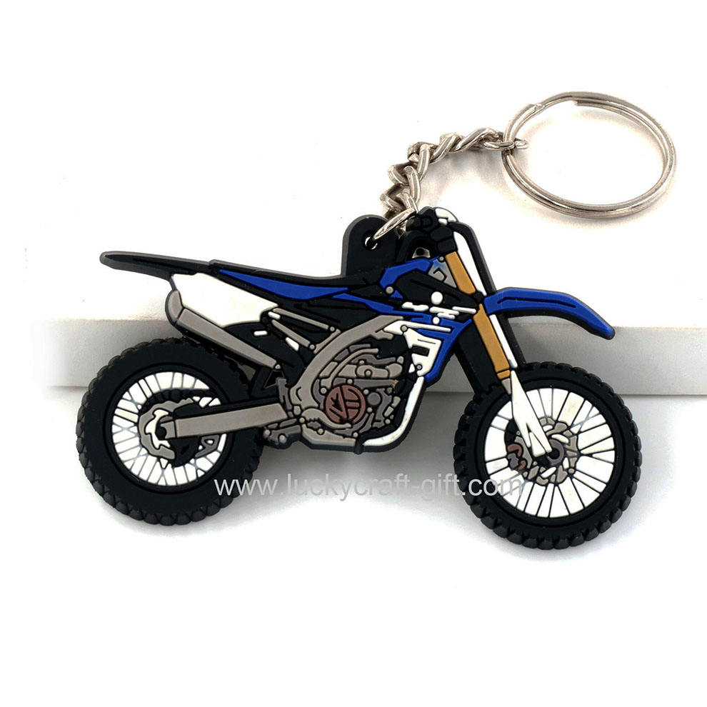 Custom promotional pvc rubber motorcycle shape keychains