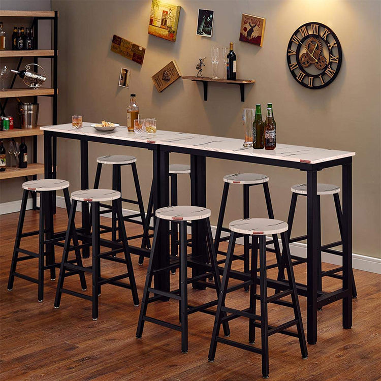 Bar Height Table Smooth MDF Top Stainless Steel Bar Table Pub Dining Height Table Black Bistro Table