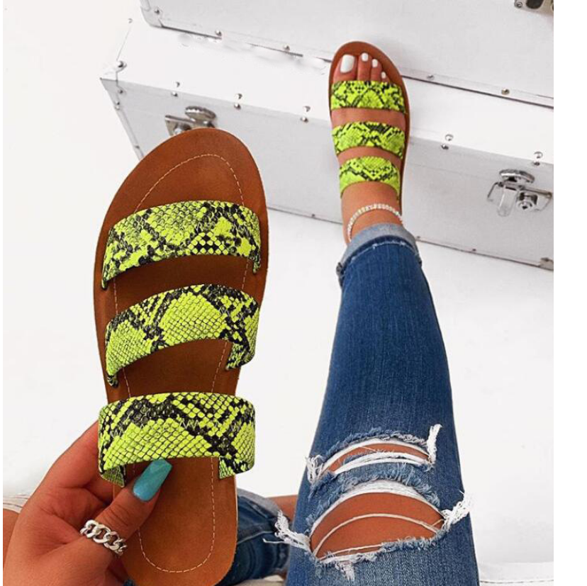 Snake totem three-layer non-slip outdoor slippers women fashion wild wild beach shoes sandals flat bottom ladies slippers