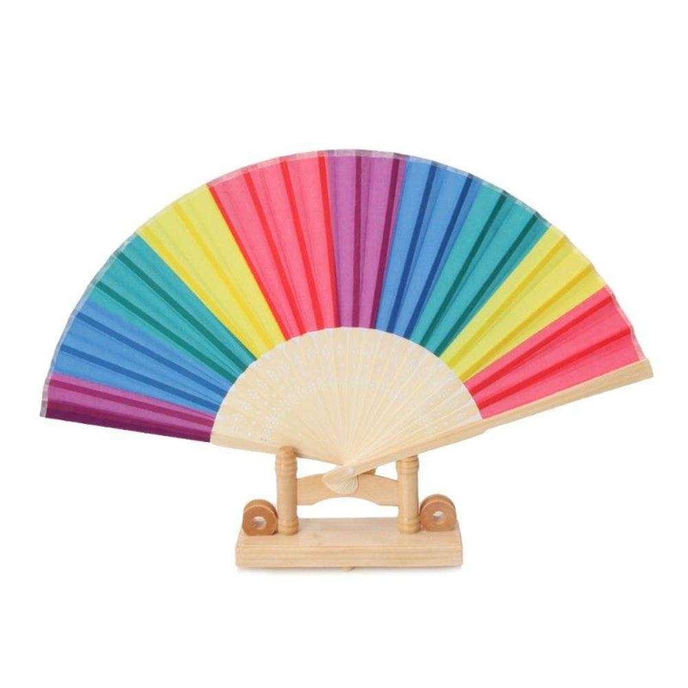 2018 High selling handmade Bamboo Party Fan women Quality Belly Fan Rainbow Colors 38x20cm