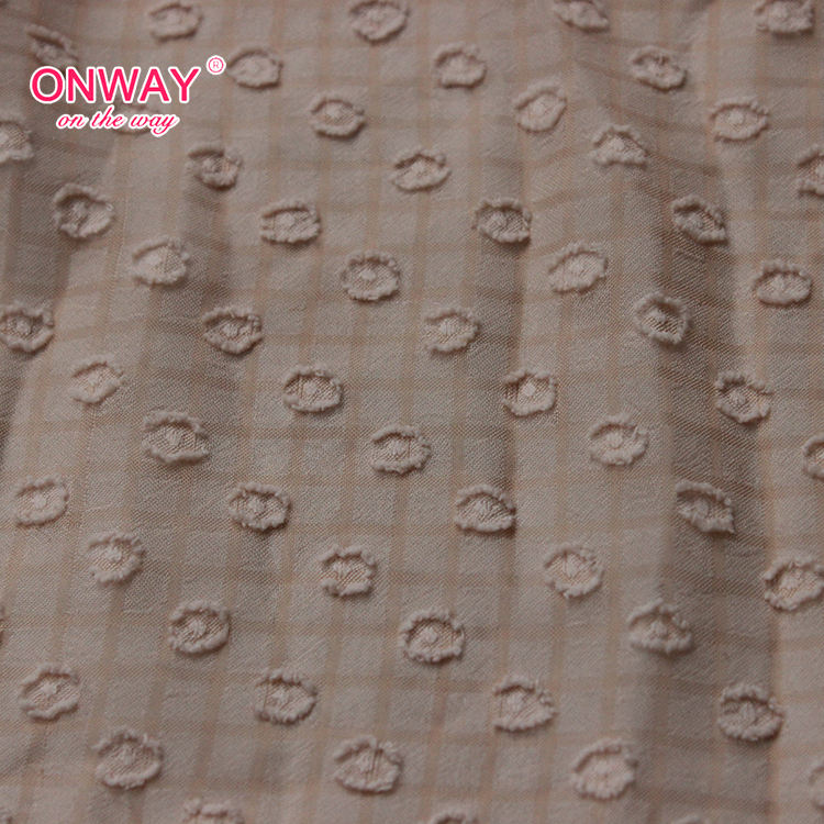New arrival woven soft dot checked jacquard chiffon fabric price per meter