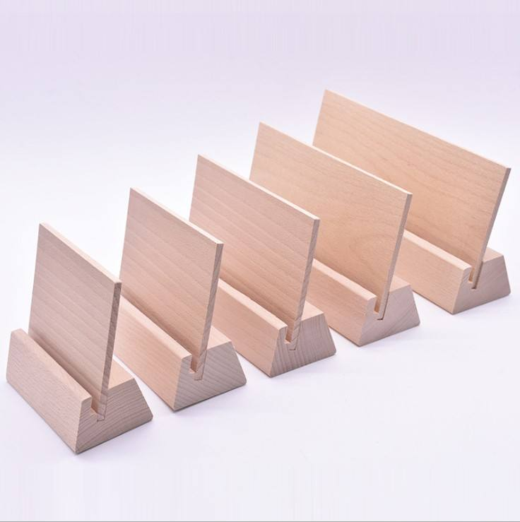 Factory direct wooden desk calendar base, beech wood business card holder, desktop business card base