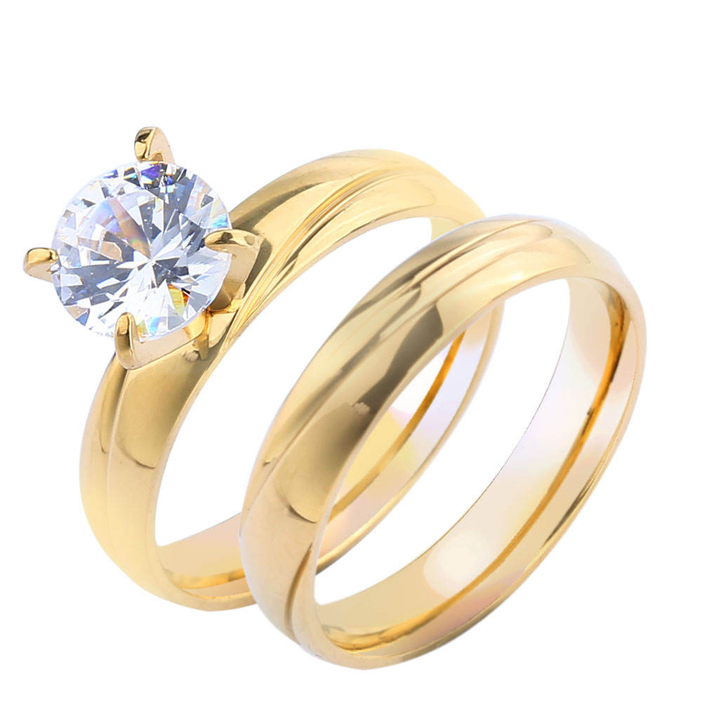 Jewelry 14k Gold Wholesale Stainless Steel Rings for Men Wedding Women Engagement Couple Set