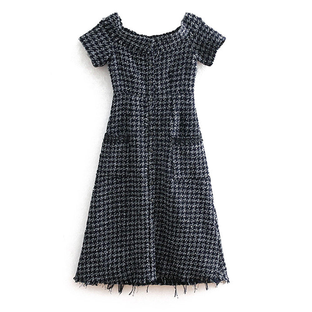 2020 New Arrival Women short Sleeved Bead-Embellished Straight Summer Tweed Min Casual Dresses