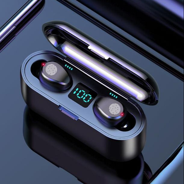 2020 new design bluetooth 5.0 wireless earbuds noise cancelling headset stereo headphone f9 with 2000mah powerbank earphone