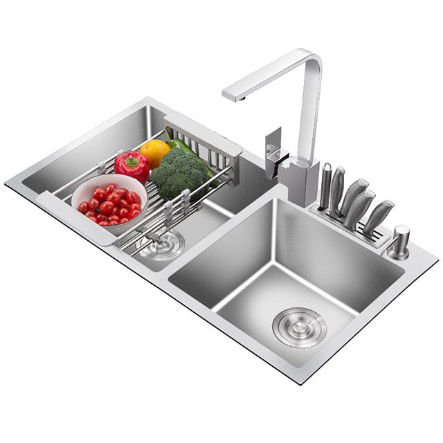 stainless steel with two water tray small double kitchen water sink