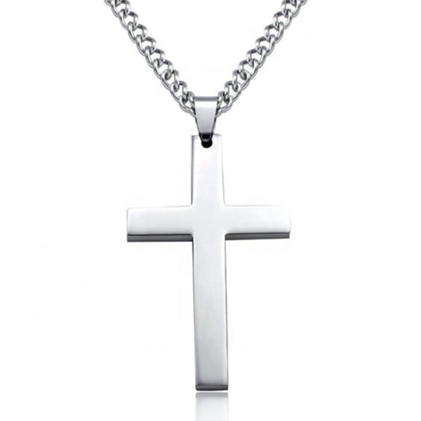 Fashion silver Chain Cross Men Stainless Steel symbol cross pendant necklace