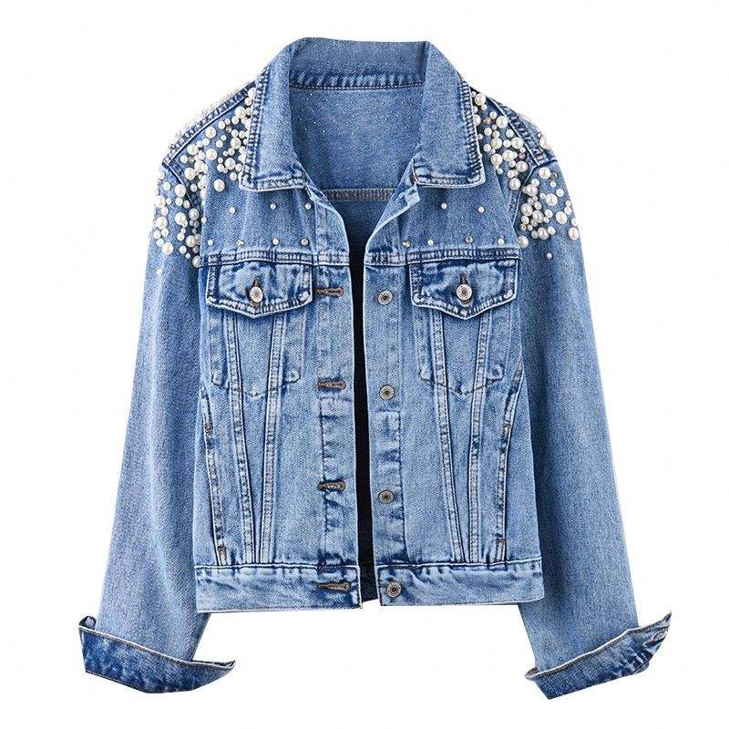 Ladies pearl jacket denim jacket with Grinding, distressed Light blue Single Breasted denim jacket for women