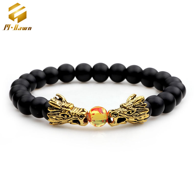 Fashion Luxe Mannen Sieraden Twin Dragon Charms Natuursteen Kralen Stretch Armband