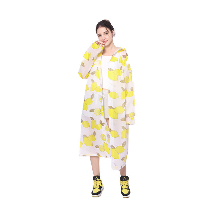 Promotional Reusable EVA Women Raincoat Waterproof Woman Hooded Rain Coat Rainwear Rainsuit With Lemon