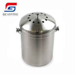 Stainless Steel  kitchen Compost Pail With Lid Includes Charcoal Filter compost bin